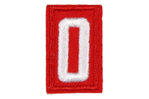 0 Unit Number White on Red Twill