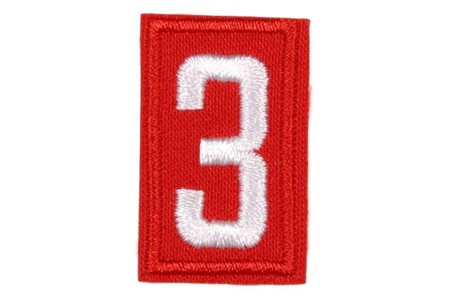 3 Unit Number White on Red Twill