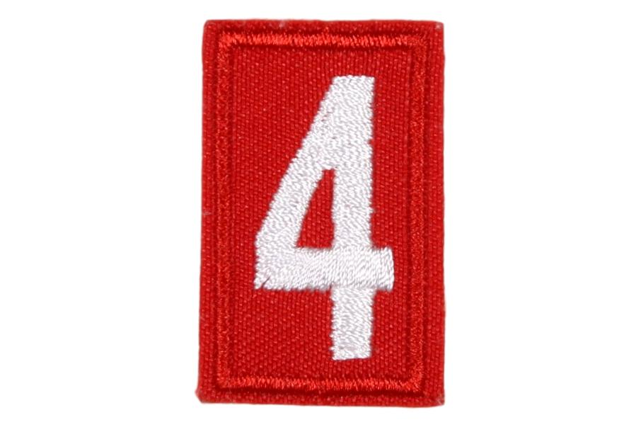 4 Unit Number White on Red Twill