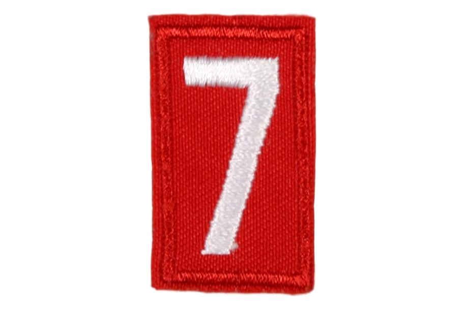 7 Unit Number White on Red Twill
