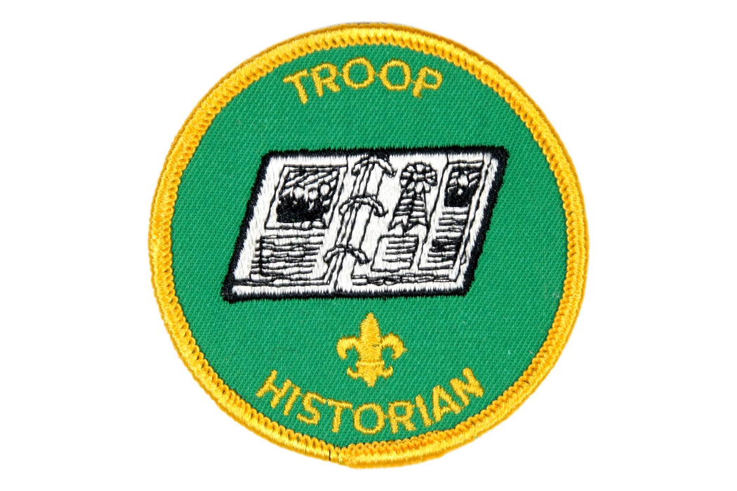 Troop Historian Patch 1970s Clear Plastic Back
