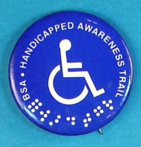 Handicapped awareness Trail Pin Back