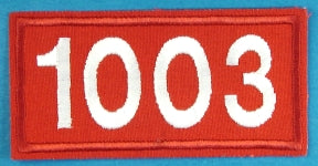 1003 Unit Number White on Red Twill