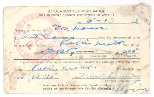 Application for Merit Badge Inland Empire Council 1945