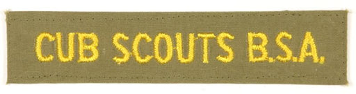 Cub Scouts B.S.A.1960s Khaki/Yellow Letters Shirt Strip