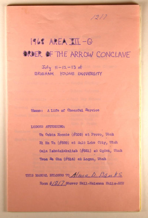 1968 Section Conclave Area 12-G Program