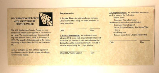 Lodge 508 45th Anniversary Service Award Requirements Card