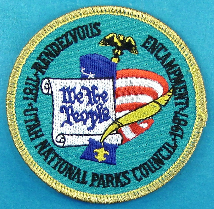 1987 Utah National Parks Rendevous Encampment Patch Gold Mylar Border