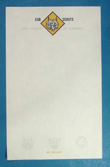 Cub Scout Stationery 1940-50s Sheet