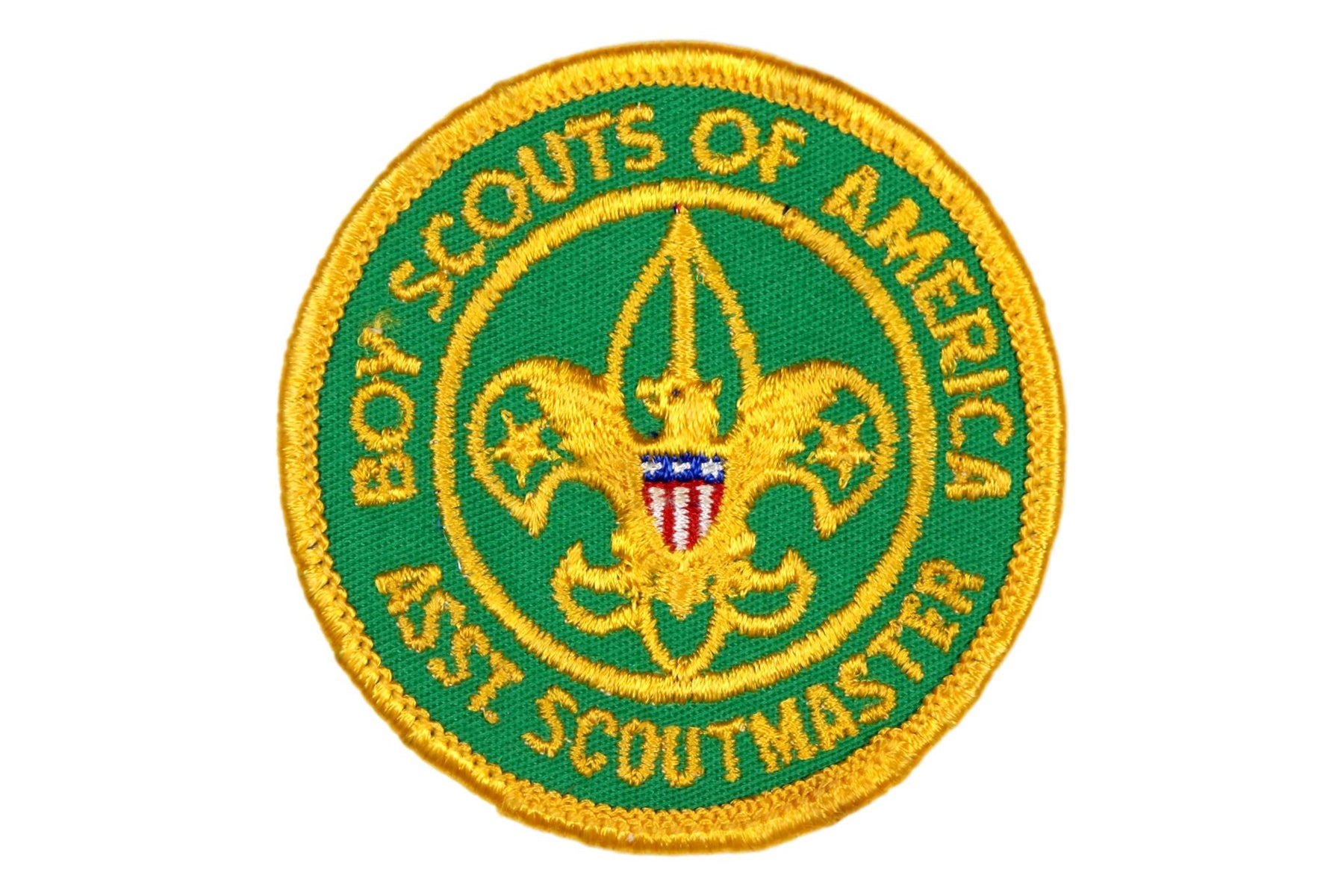 Assistant Scoutmaster Patch 1960s Type 2 with Title Plastic Back