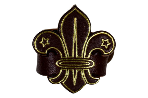 Fleur de lis Leather Neckerchief Slide Brown