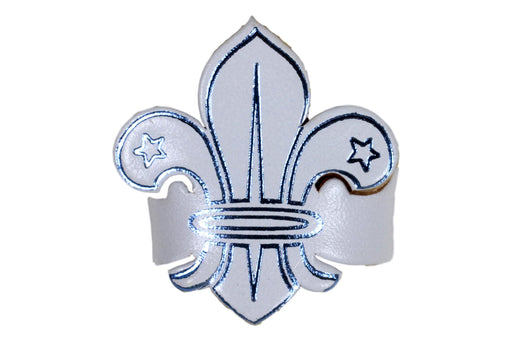 Fleur de lis Leather Neckerchief Slide White