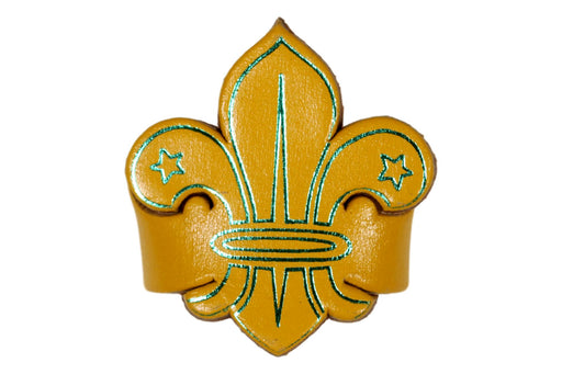 Fleur de lis Leather Neckerchief Slide Yellow