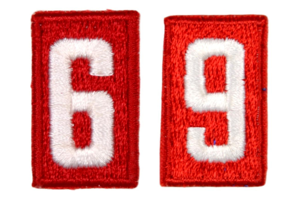 6 or 9 Unit Number White on Red Plastic Back