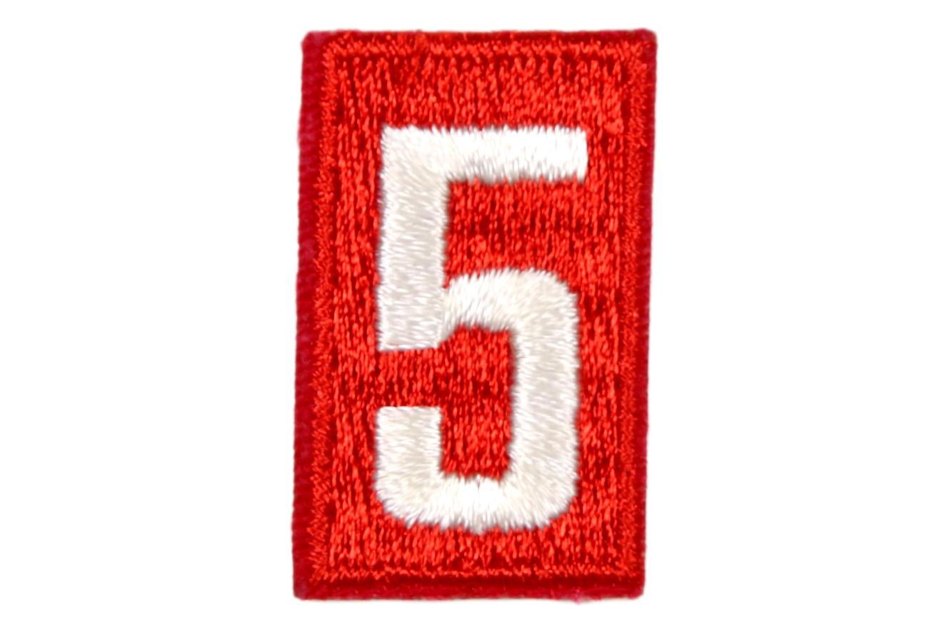 5 Unit Number White on Red Plastic Back