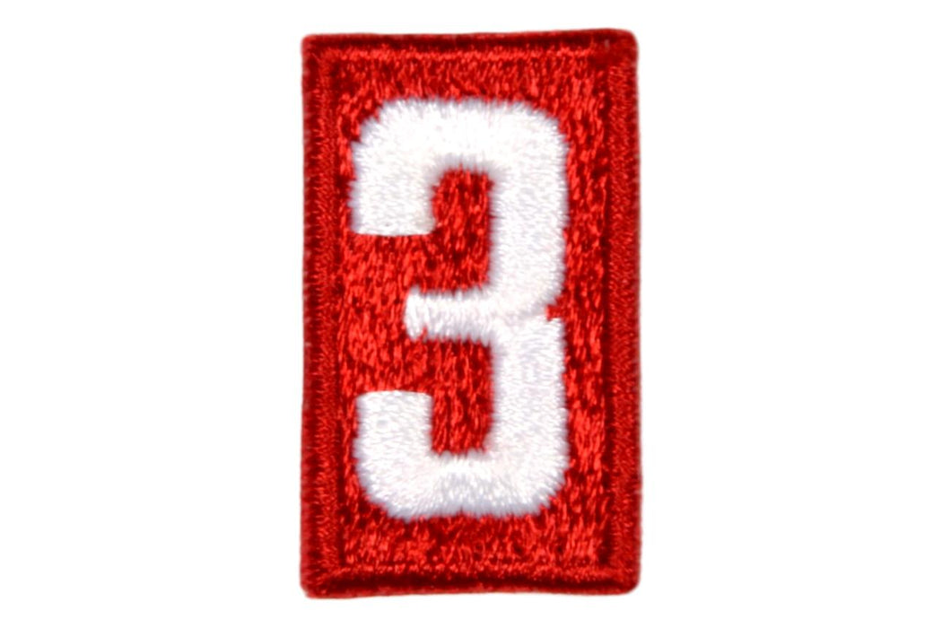 3 Unit Number White on Red Plastic Back