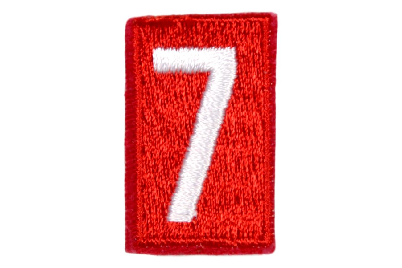 7 Unit Number White on Red Paper Back