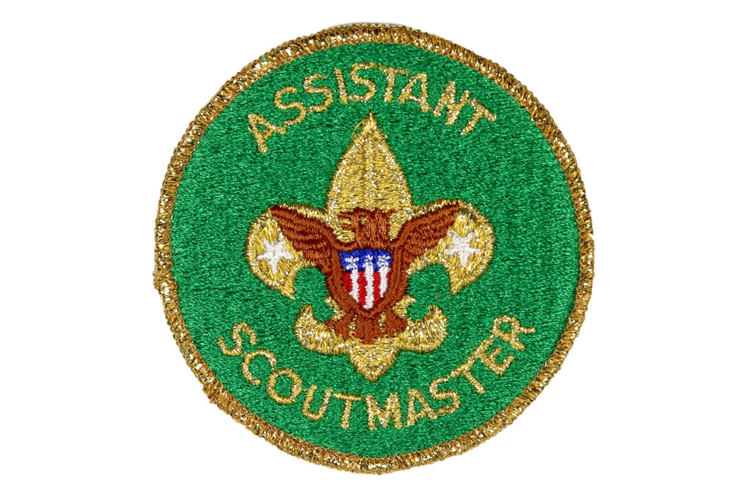 Assistant Scoutmaster Patch 1980s Gold Mylar Border Clear Plastic Back