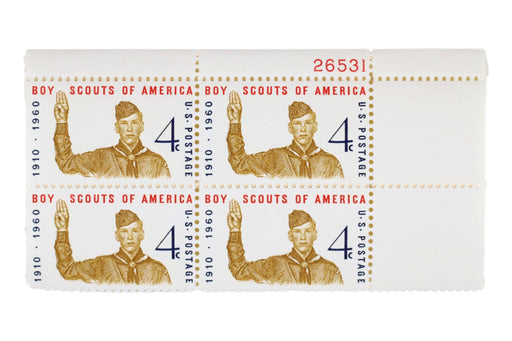 Boy Scout Stamps 1960 Anniversary Block of 4