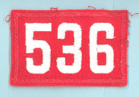 One Piece Unit Number 535 White on Red