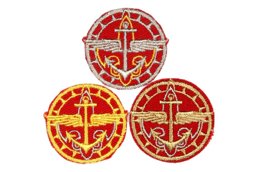 Explorer Scout Patch Set - Silver, Gold, and Bronze Awards on Red Twill