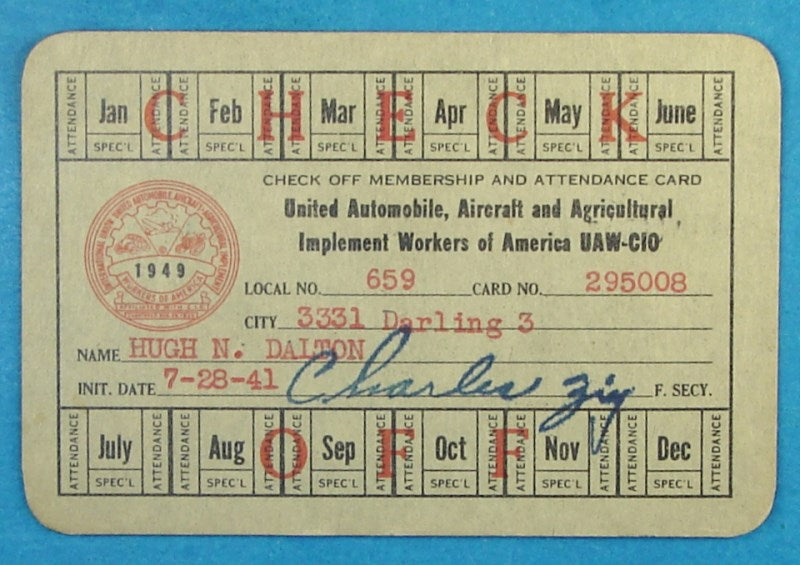 United Automobile, Aircraft and Agricultural Workers Card
