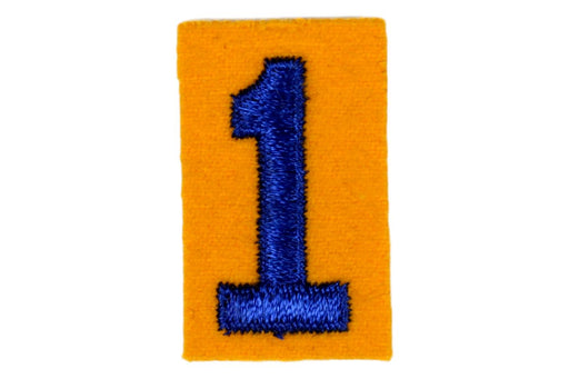 1 Felt Unit Number Blue on Yellow