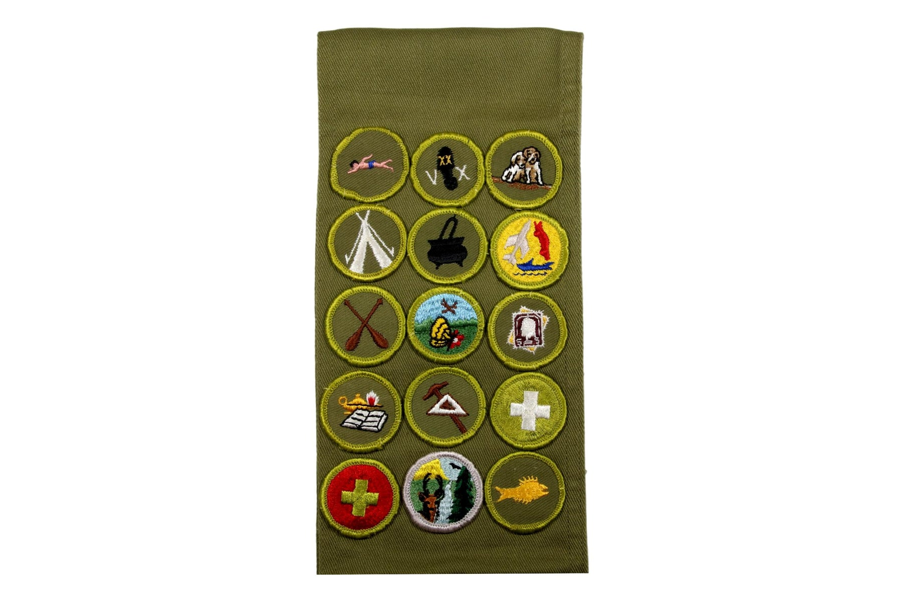 Merit Badge Sash 1960s 10 Rolled Edge Twil and 5 Cloth Back Fully Embroidered Merit Badges on 1960s Khaki