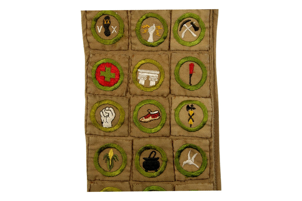 Merit Badge Sash 1920s 29 Square Merit Badges on Tan