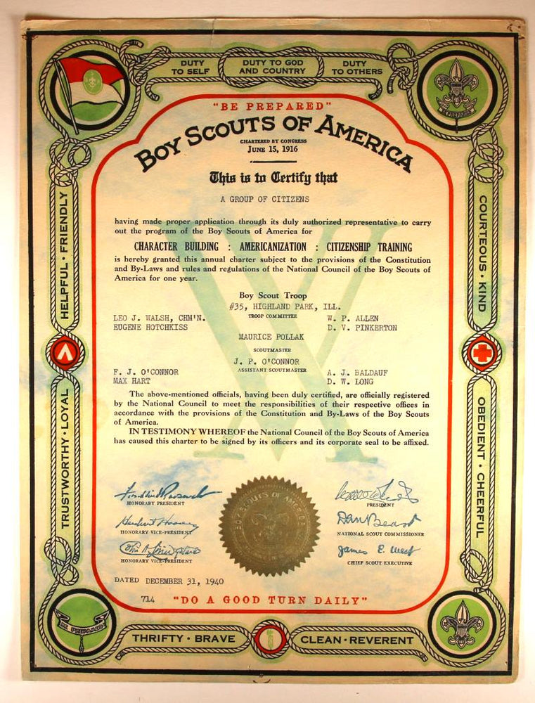 Boy Scout Troop Charter 1940