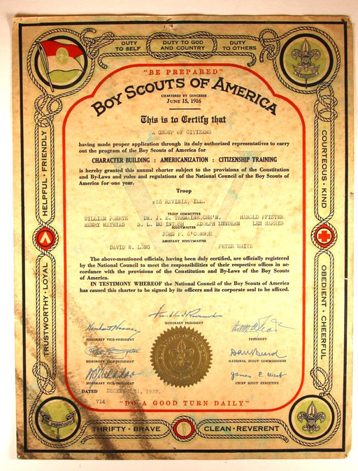 Boy Scout Troop Charter 1933