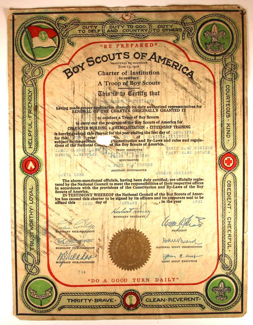 Boy Scout Troop Charter 1932