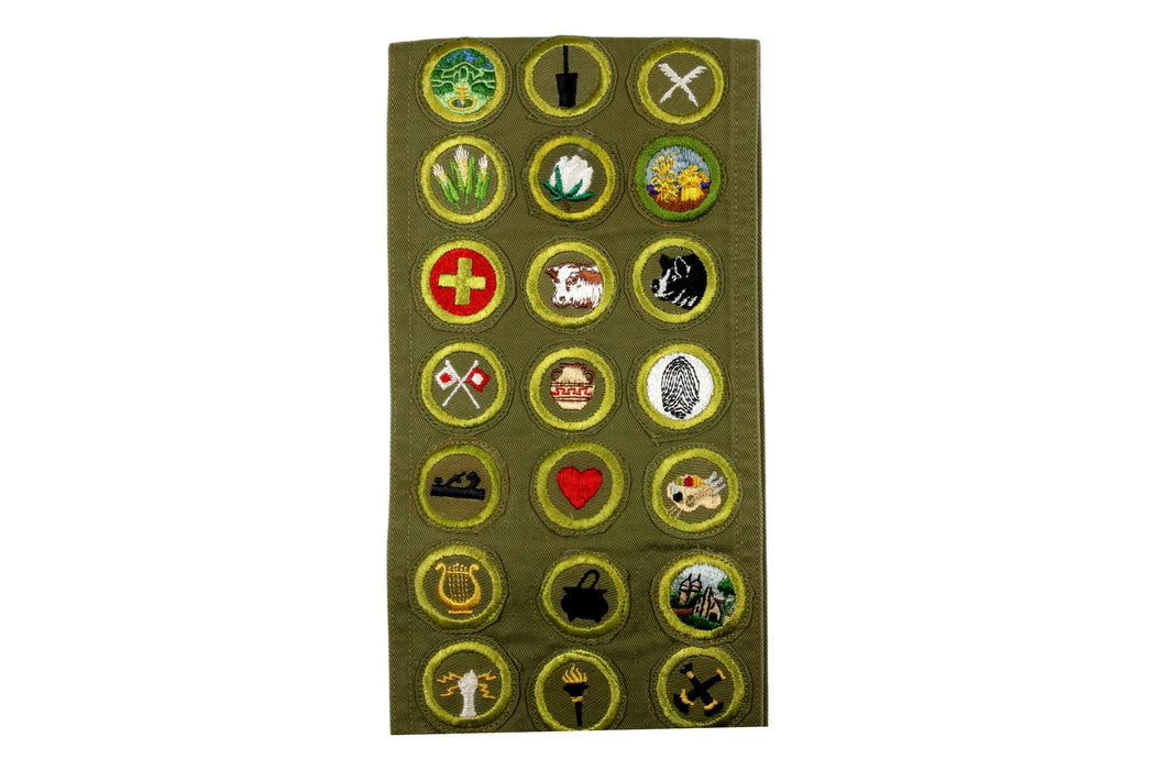 Merit Badge Sash 1950s - 1960s with 2 Tan Narrow Crimped, 88 Khaki Crimped and 14 Rolled Edge Merit Badges