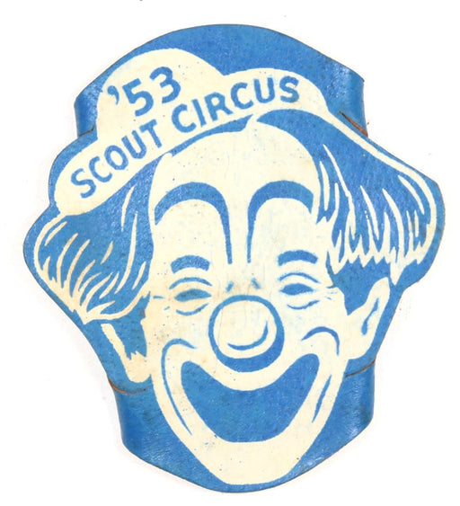 1953 Scout Circus Leather Neckerchief Slide Blue