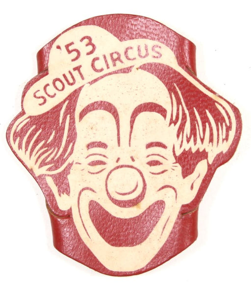 1953 Scout Circus Leather Neckerchief Slide Red