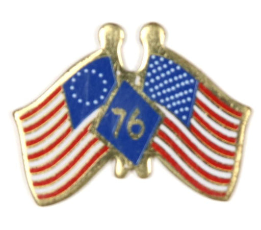 Bicentennial American Flags Pin 1976