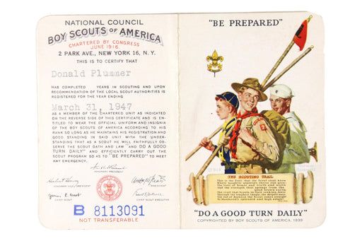 1947 Registration Card Bi-Fold Military Service