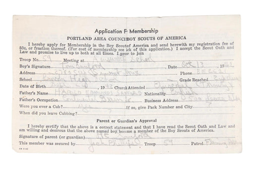 Application for Merit Badge Portland Area Council 1942
