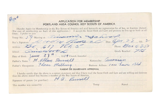 Application for Merit Badge Portland Area Council 1932