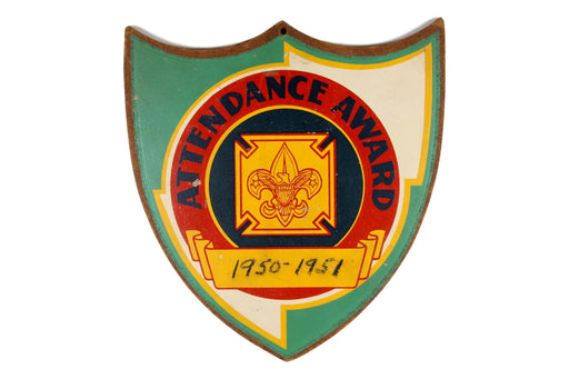 Attendance Award Plaque 1950s