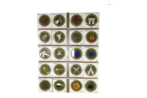 !1960s Rolled Edge Twill Merit Badge Collection 78 MBs