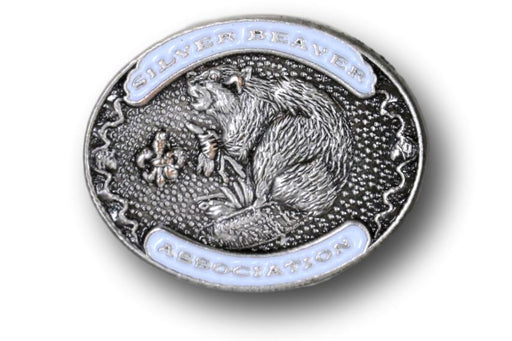 "Silver Beaver Association Pin 3/4"" Oval White"