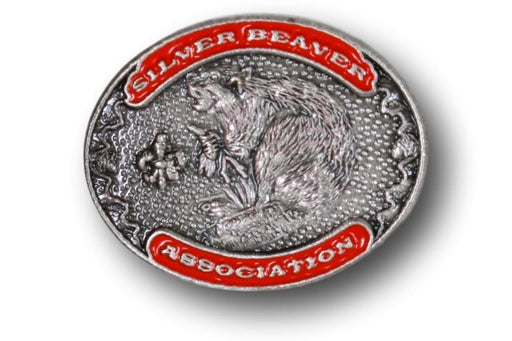 "Silver Beaver Association Pin 3/4"" Oval Orange"