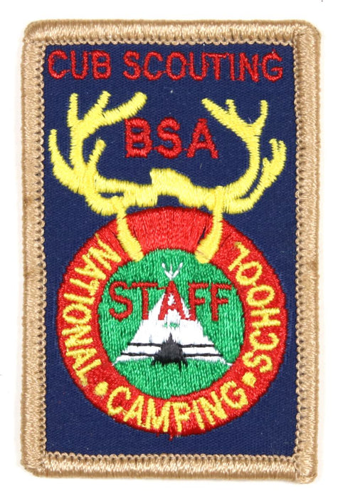 National Camping School Patch Cub Scout Staff Plastic/Gauze Back