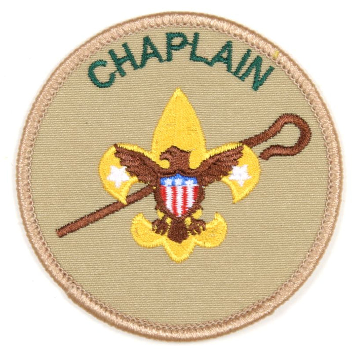 Chaplain Patch Tan Clear Plastic Back