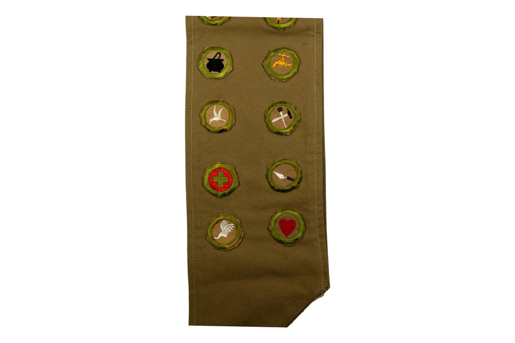 Merit Badge Sash 1930s - 1940s with 22 Tan Crimped Merit Badges on 1930s Tan