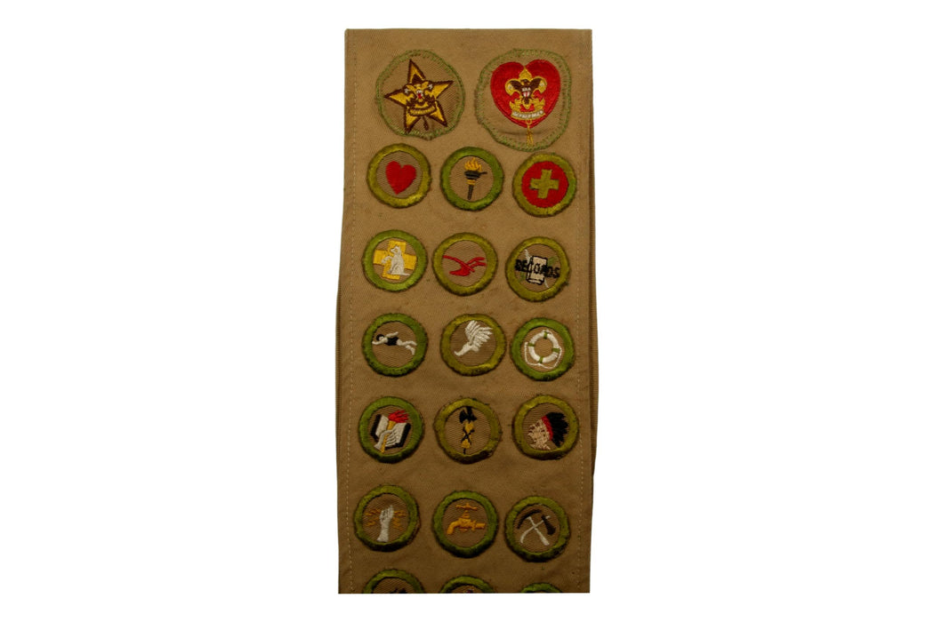 Merit Badge Sash 1930s - 1940s with 27 Tan Crimped and 2 Khaki Crimped Merit Badges on 1930s Tan