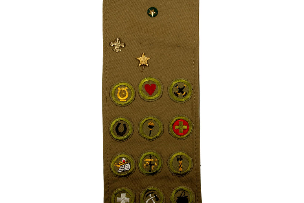 Merit Badge Sash 1930s - 1940s with 13 Tan Crimped Merit Badges on 1930s Tan