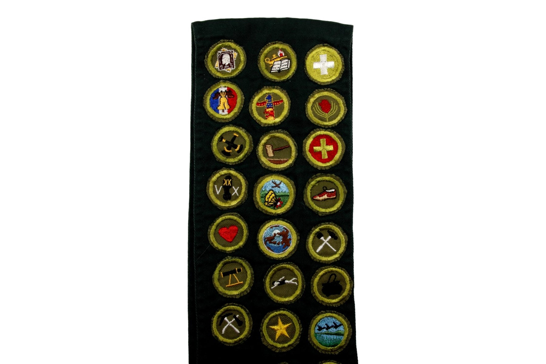 Merit Badge Sash 1950s with 23 Khaki Crimped Merit Badges on Explorer Green