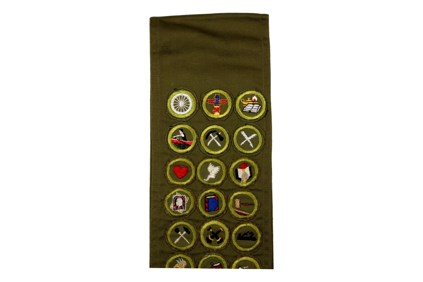 Merit Badge Sash 1950s with 36 Kahki Crimped Merit Badges on 1960s Khaki